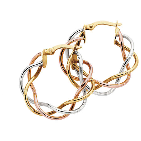 Hoop Earrings in 10ct Yellow, White & Rose Gold