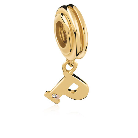 Diamond Set & 10ct Yellow Gold 'P' Charm