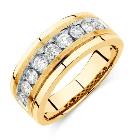Men's Ring with 1 Carat TW of Diamonds in 10ct Yellow Gold