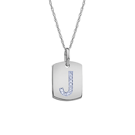 """J"" Initial Rectangular Pendant With Diamonds In 10ct White Gold"