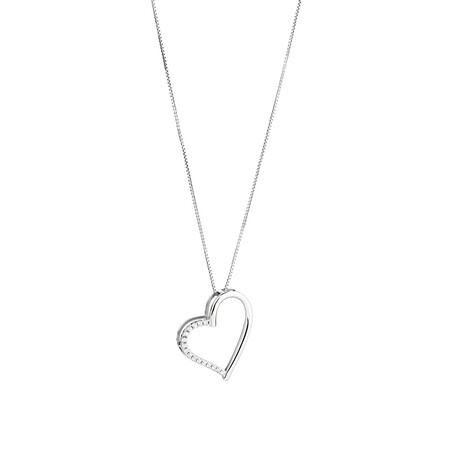 Open Heart Pendant With Cubic Zirconia In Sterling Silver