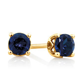4mm Stud Earrings with Created Sapphire in 10ct Yellow Gold