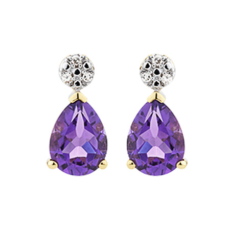 Stud Earrings with Amethyst & Diamonds in 10ct Yellow Gold