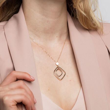Geometric Drop Necklace in 10ct Yellow Gold