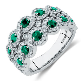 Bubble Ring with Natural Emerald & 0.80 Carat TW of Diamonds in 14ct White Gold