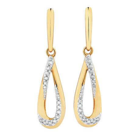 Teardrop Earrings with Diamonds in 10ct Yellow Gold