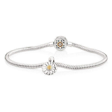 Charm Bracelet with Flower Charm in 10ct Yellow Gold & Sterling Silver