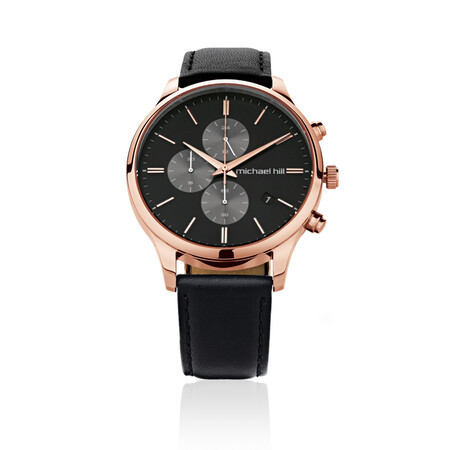 Men's Chronograph Watch in Rose Tone Stainless Steel & Black Leather