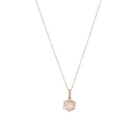Halo Pendant with Morganite & 0.25 Carat TW of Diamonds in 10ct Rose Gold