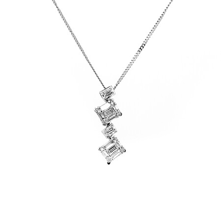 Pendant with 0.25 Carat TW of Diamonds in 10ct White Gold with Chain