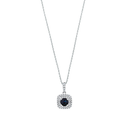 Michael Hill Designer Pendant With Sapphire & 0.20 Carat TW Of Diamonds In 10ct White & Rose Gold