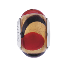 Gold, Red & Black Murano Glass Charm