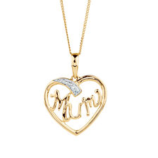 Mum Pendant with Diamonds in 10ct Yellow & White Gold