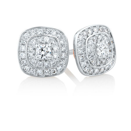Whitefire Stud Earrings with 1/2 Carat TW of Diamonds in 18ct White Gold & 22ct Yellow Gold