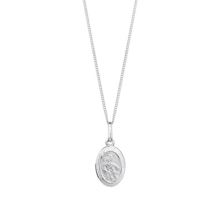 St Christopher Pendant in 10ct White Gold