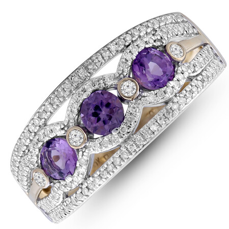 Ring with Amethyst & 0.25 Carat TW of Diamonds in 10ct Yellow Gold