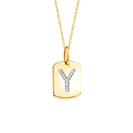 """""""Y"""" Initial Rectangular Pendant With Diamonds In 10ct Yellow Gold"""
