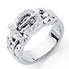 Belt Ring with 0.13 Carat TW of Diamonds in 10ct White Gold
