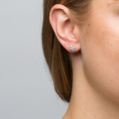 Cluster Stud Earrings with 0.20 Carat TW of Diamonds in Sterling Silver