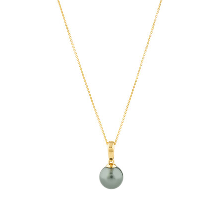 Pendant with Cultured Tahitian Pearl In 10ct Yellow Gold