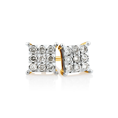 Cluster Stud Earrings with 1/4 Carat TW of Diamonds in 10ct Yellow Gold