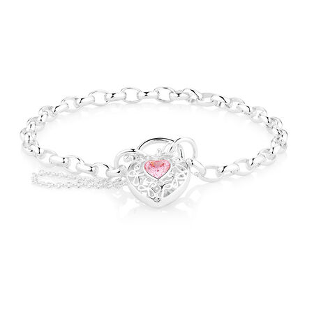 "19cm (7.5"") Padlock Bracelet With Pink Cubic Zirconias In Sterling Silver"