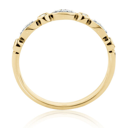 Marquise Stacker Ring with 0.11 Carat TW of Diamonds in 10ct Yellow Gold