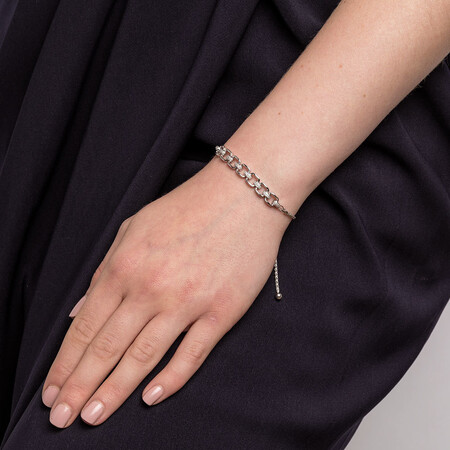 Bolo Bracelet With Diamonds In Sterling Silver