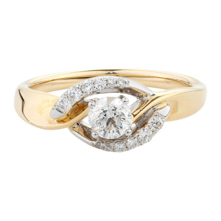 Online Exclusive - Engagement Ring with 1/2 Carat TW of Diamonds in 10ct Yellow & White Gold