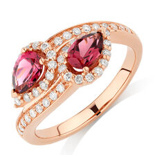 By My Side Ring with 0.16 Carat TW of Diamonds & Rhodolite Garnet in 10ct Rose Gold