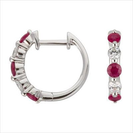 Mini Hoop Earrings with Natural Ruby & 0.19 Carat TW of Diamonds in 10ct White Gold