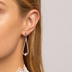 Drop Earrings with White Cubic Zirconia in Sterling Silver