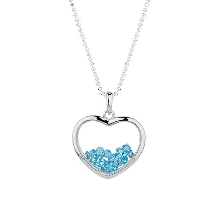 Online Exclusive - Heart Pendant with Aqua Cubic Zirconias in Sterling Silver