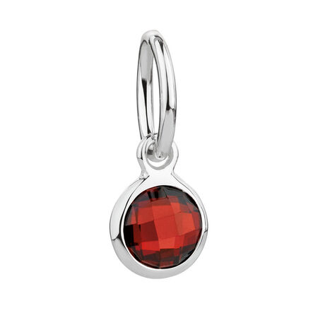 July Mini Pendant with Red Cubic Zirconia in Sterling Silver