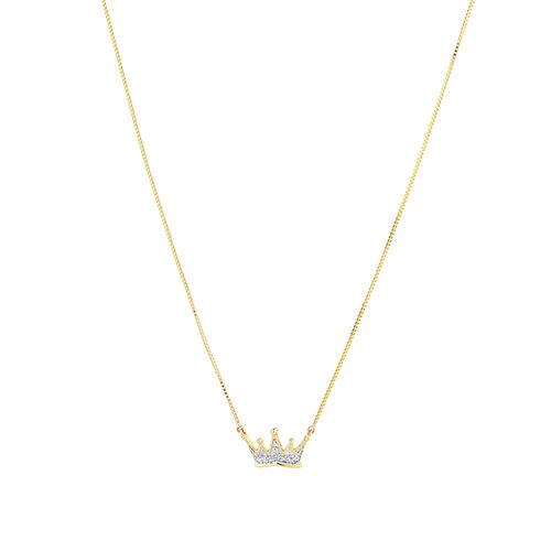 Crown Necklace with Diamonds in 10ct Yellow Gold