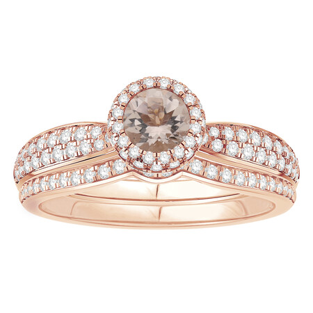 Ring with 0.88 Carat TW of Brown & White Diamonds in 14ct Rose Gold