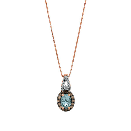 Pendant with Aquamarine & 0.25 Carat TW of Brown & White Diamonds in 14ct Rose Gold