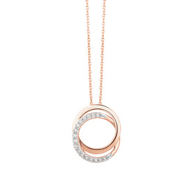 Circle Pendant With 0.10 Carat TW Of Diamonds In 10ct Rose Gold