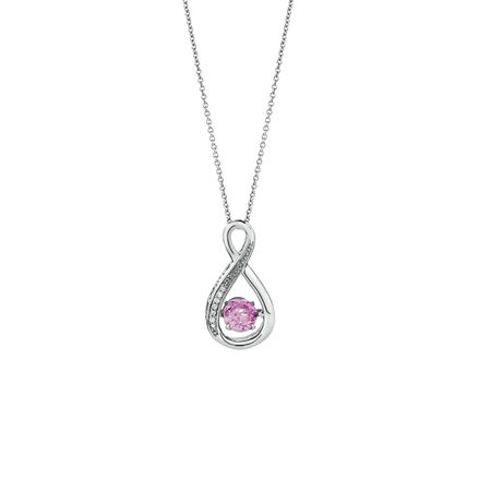 Online Exclusive - Everlight Pendant with Created Pink Sapphire & Diamonds in Sterling Silver