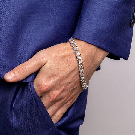 "23cm (9.5"") Men's Curb Bracelet in Sterling Silver"