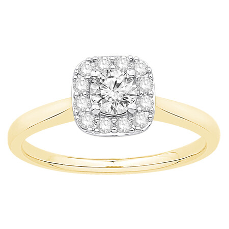 Ring with 0.53 Carat TW of Diamonds in 10ct Yellow & White Gold