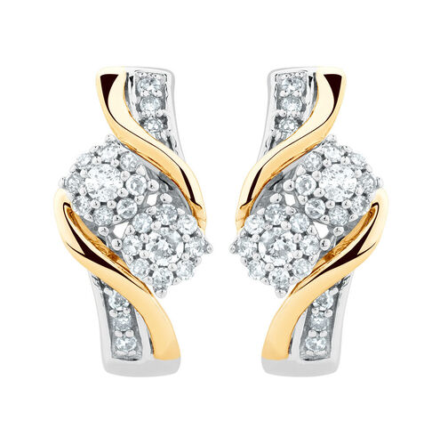 By My Side Earrings with 1/4 Carat TW of Diamonds in 10ct White & Yellow Gold