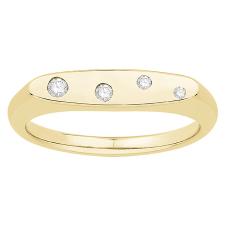 Signet Ring with Diamonds in 10ct Yellow Gold