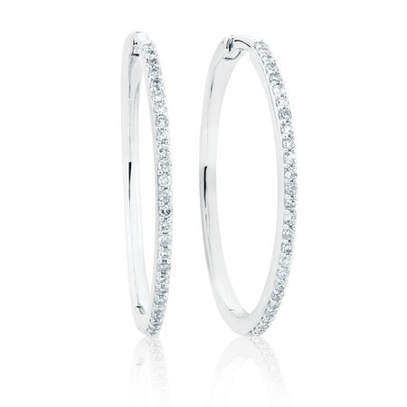 Large Huggie Earrings With 0.42 Carat TW of Diamonds in 10ct White Gold