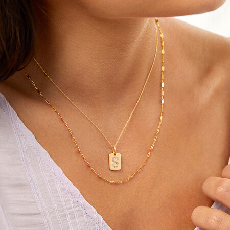 """""""S"""" Initial Rectangular Pendant With Diamonds In 10ct Yellow Gold"""