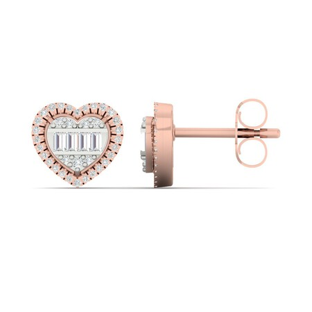 Heart Stud Earrings with 0.20 Carat TW of Diamonds in 10ct Rose Gold