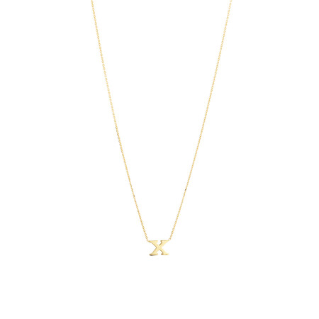 """X"" Initial Necklace in 10ct Yellow Gold"