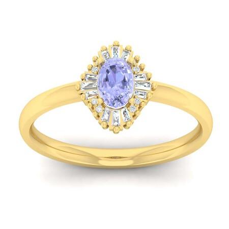 Ballerina Ring with Tanzanite & Diamond in 10ct Yellow Gold