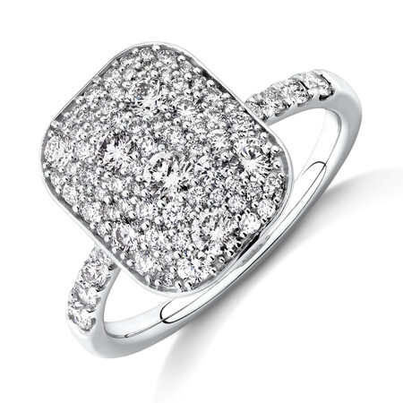 Pave Ring with 1 Carat TW of Diamonds in 14ct White Gold