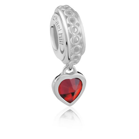 Sterling Silver January Heart Charm